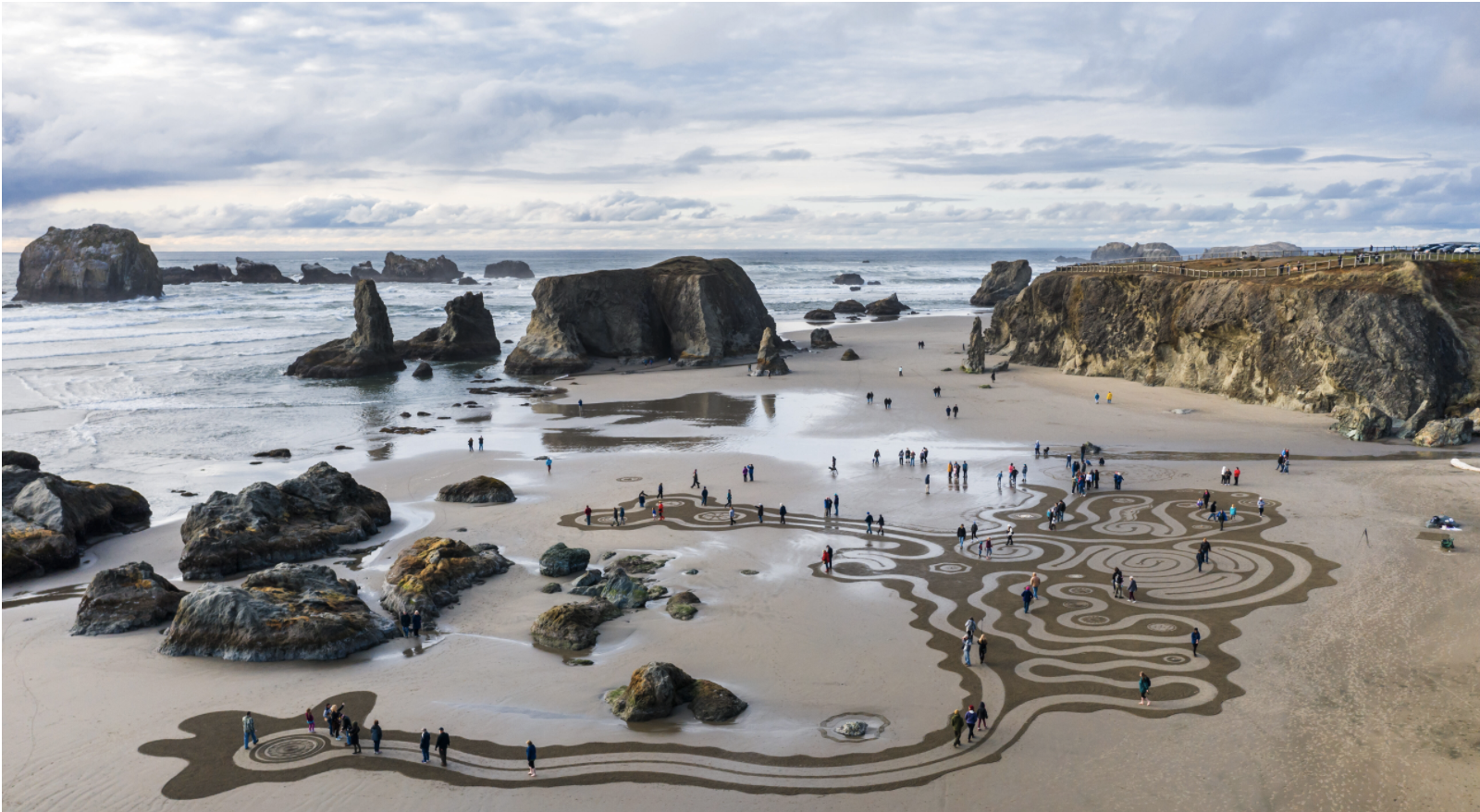 beach in bandon oregon with sand art